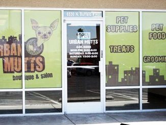 Perforated Window Graphics for a Dog Salon